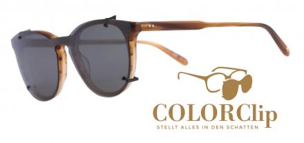 COLORClip Sonnenclip Clip On Technologie Brille Schmuck Optik Weißmann Monoscheibe Korrektionsbrille Polarisation polarisiert Grau Braun G15 Kupfer Oker